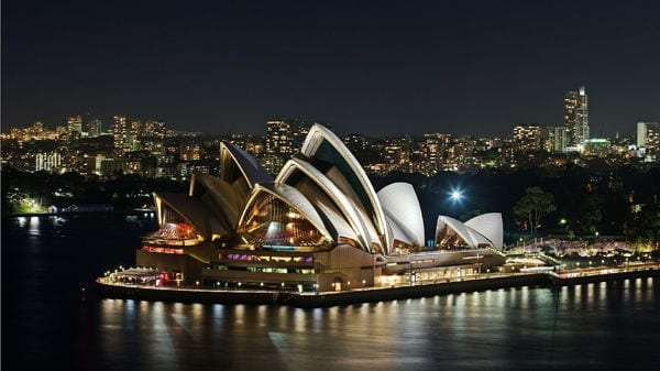 Sydney Opera House, Australia lit up at night