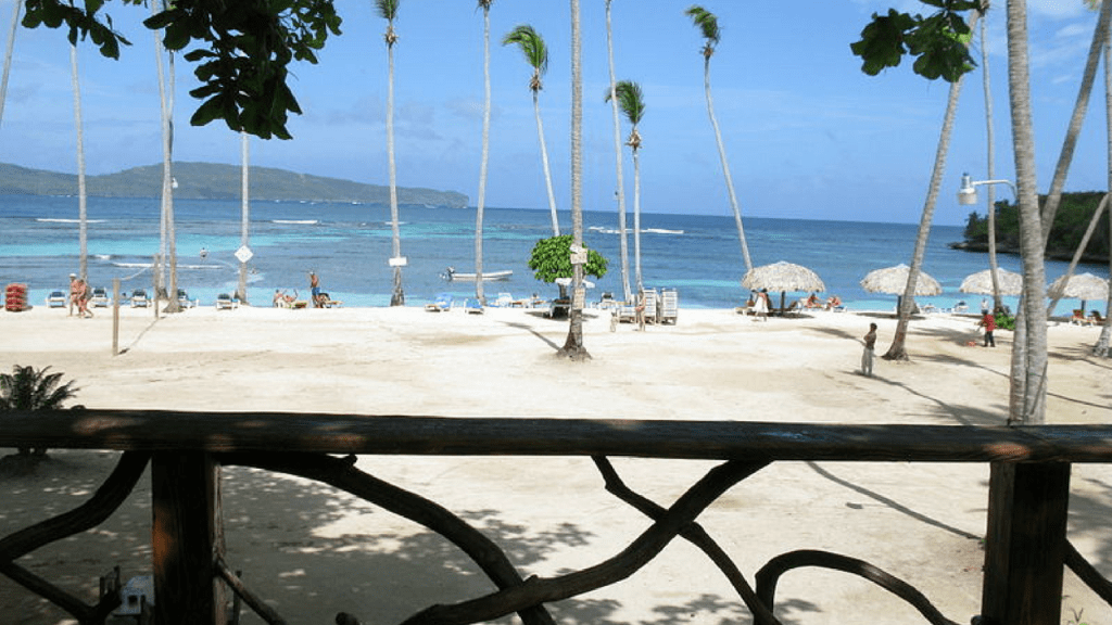 La Playita Dominican Republic view from a restaurant o f the beach with beach chairs