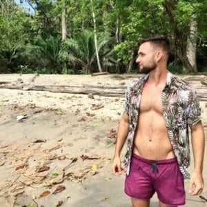 man on the beach in panama