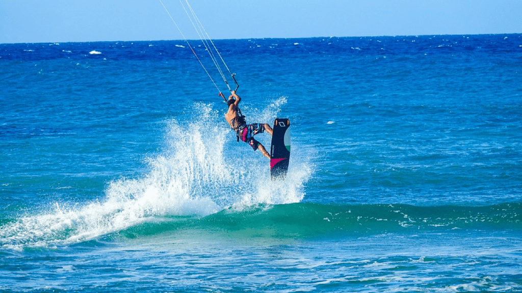 kite surfer in the dominican republic at kite beach
