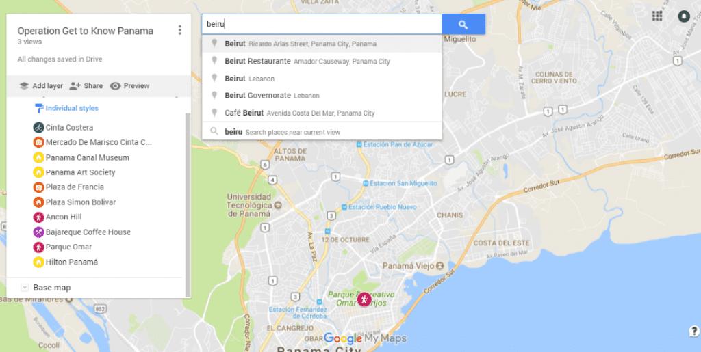 screenshot from google mymaps showing close up of panama city, panama