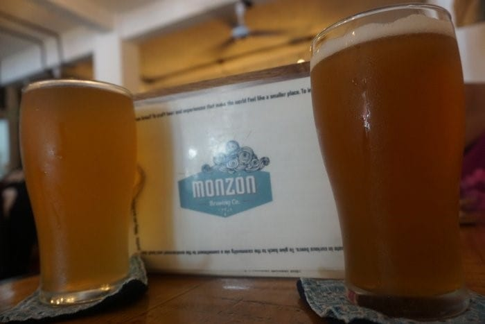 Two pints of Monzon beer
