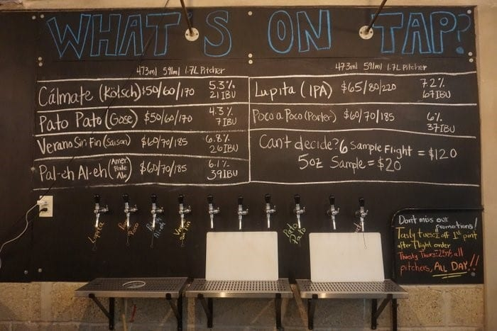 The beer menu at Monzon brewery