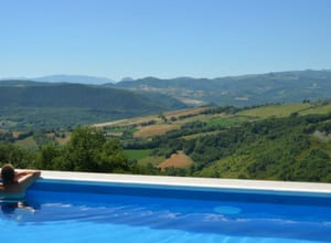 An elevated pool overlooking the countryside in Abruzzo, Italy
