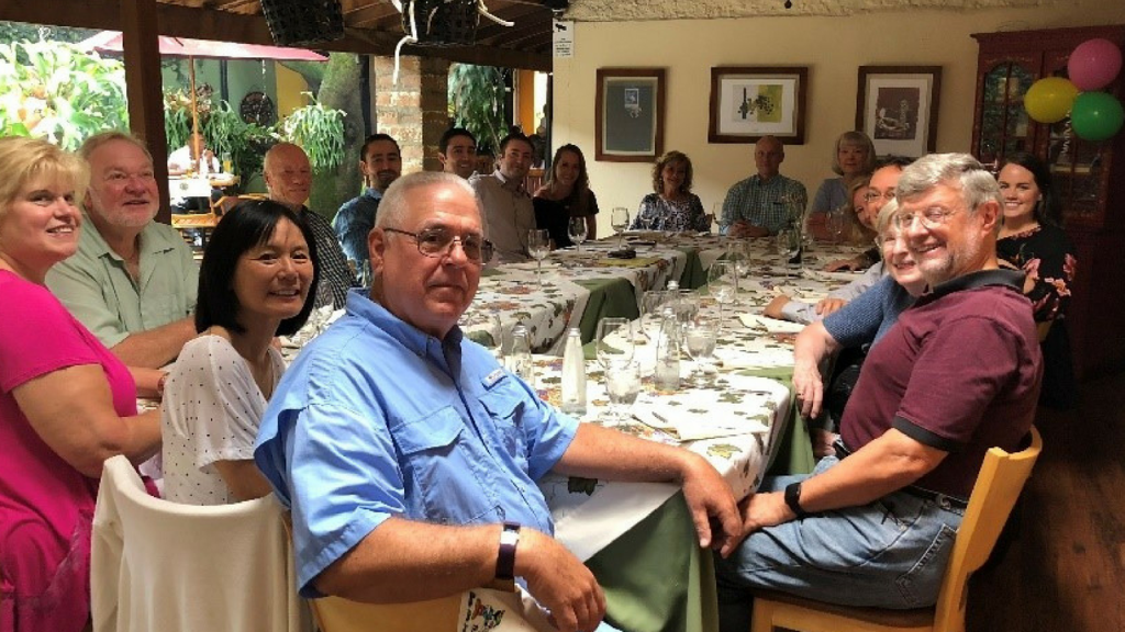 Live And Invest Overseas Conference attendees share lunch in Medellin, Colombia