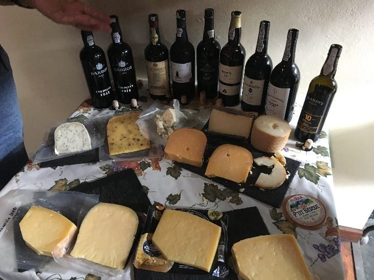 A table of port and cheese
