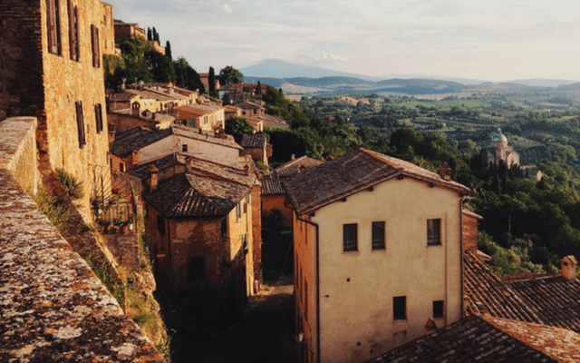 Old town in Abruzzo with countryside in the background