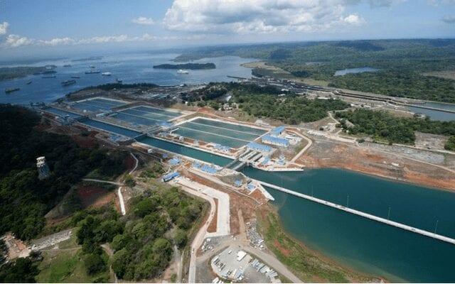 Panama Canal locks from the sky