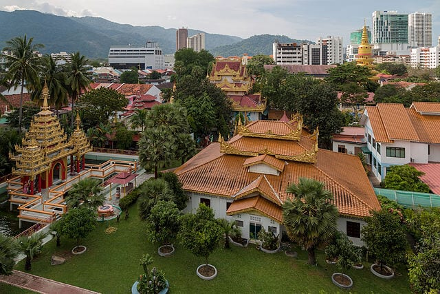 A look at the pagodas and greenery in the suburbs of George Town.