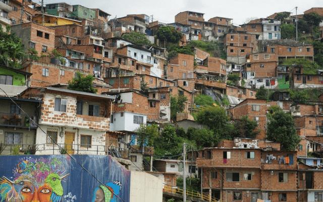 Communa 13 neighborhood homes and street art