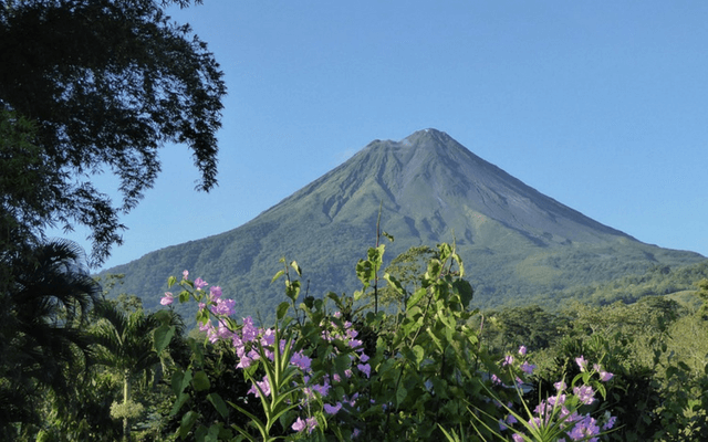 A green covered volcano in Costa Rica