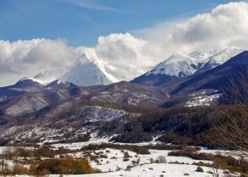 campotosto abruzzo. rugged mountain countryside and one of the cheapest places to live in italy