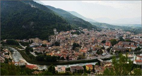 aerial view of popoli, abruzzo italy