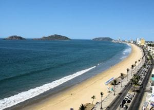 beach shore and boulevar on mazatlán