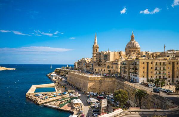 view across the port of valletta in malta looking out across the mediterranean