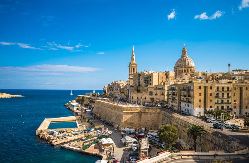 Valletta Malta, view across harbour and out to sea