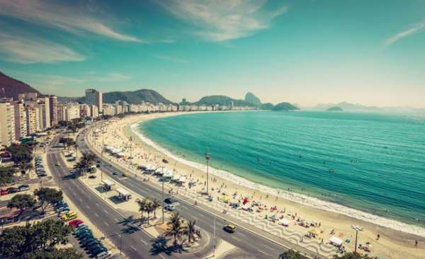 a view of copacabana beach in brazil, boulevard with the beach in front and the turqouise ocean