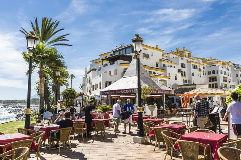 Marbella, Spain cafe by the sea