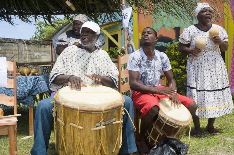 Garifuna people perform traditional Garifuna songs in Belize.
