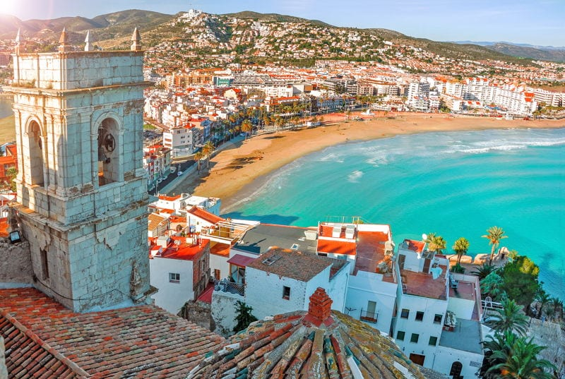 View of the beach and old town in Valencia, Spain