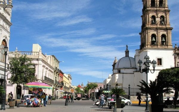 a view from th estreet of durango mountaine town in mexico