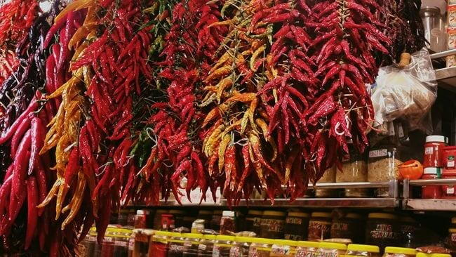 Chillies hanging up at Barcelona market