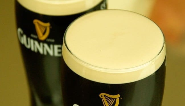 Two pints of Guinness beer
