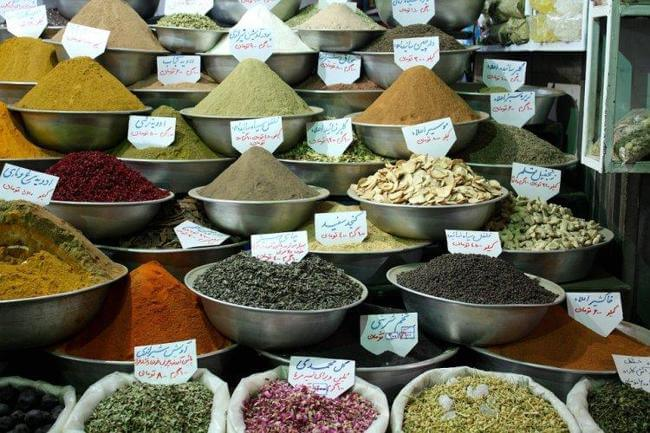 selection of spices at a market in Iran