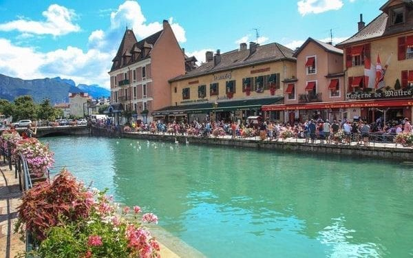Annecy canalside in France, mountains in the back