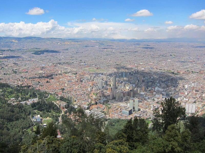 View across Bogota city in Colombia from the mountains