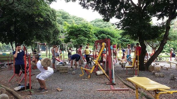An outdoor gym in El Ingenio Park, Cali, colombia