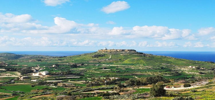 A view of this historic town of Gozo in Malta taken on a sunny day