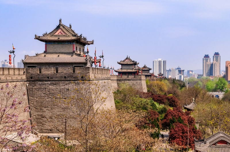 Historic town of Xian in China ancient walls and temple