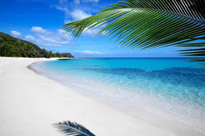 Fiji beach white sand and clear seas
