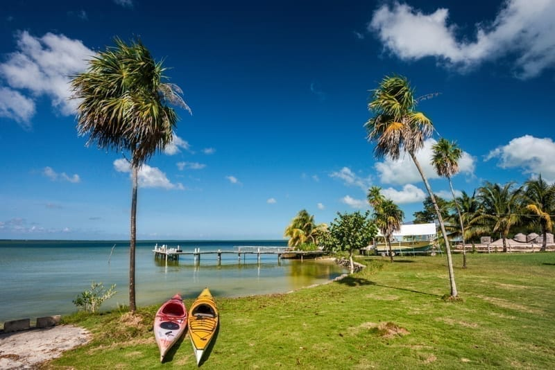 Kayaks at Corozal Bay seashore, Corozal District, Belize.