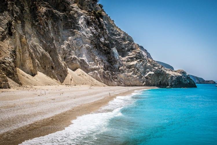Blue water beach in Greece