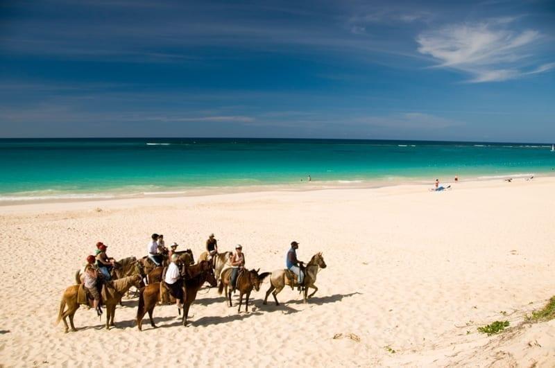 Caribbean Dominican Republic Horseback riding on the beach with ocean beyond