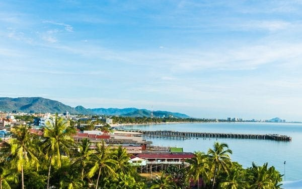 Hua Hin is one of the best places to buy real estate in Thailand. View of town and bay