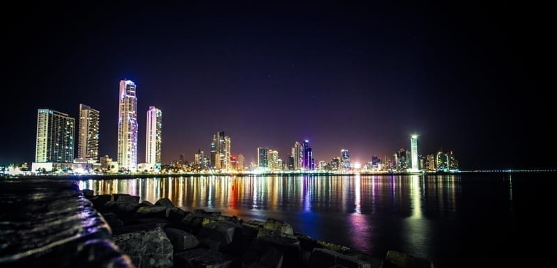 Panama City at night. Reflection of the lights in the ocean.
