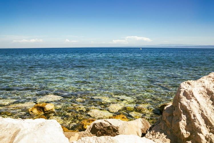 Adriatic sea summer beach in Piran, Slovenia