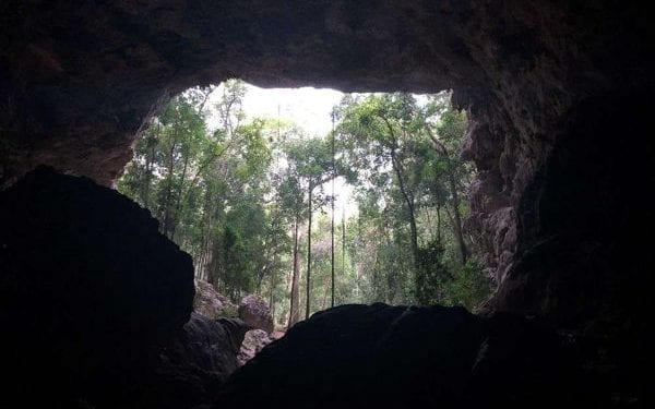 entrance to a cave in belize