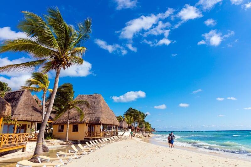 Playa del carmen beach in Mexico sunny day