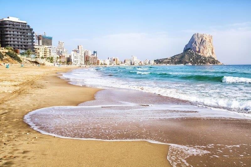 Calpe, Alicante, Arenal Bol beach with Penon de Ifach mountain, Portugal