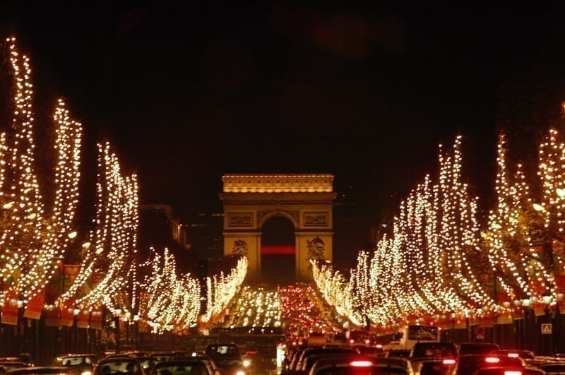 Christmas on Champs Elysees and Arc de Triomphe, Paris, France.