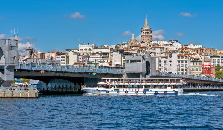 Karakoy skyline with Galata Tower and passenger boat in Istanbul, Turkey