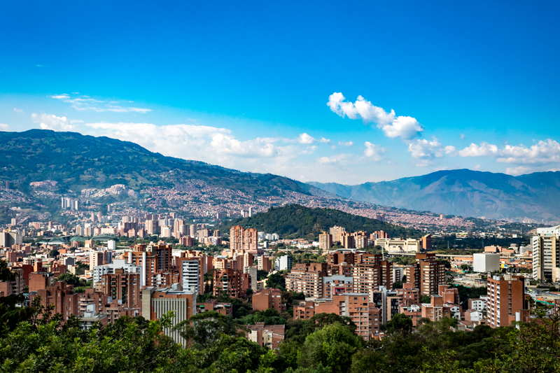 colombian city of medellin mountains in background