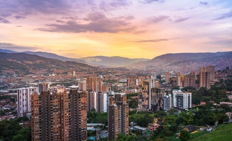 Beautiful sunset in the city of Medellin, Colombia from the south part of the city.
