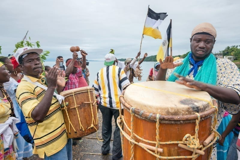 Drummers at Battle of the Drums performance, annual Garifuna Settlement Day festival in Punta Gorda, Belize