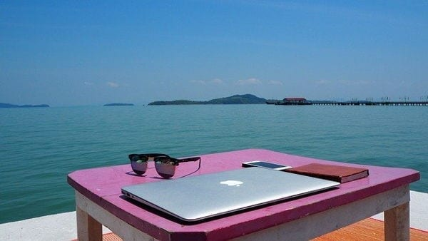 laptop by sea belize