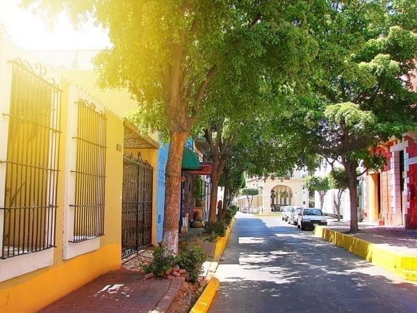 colonial street in mazatlan mexico